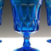 Thick heavy quality vintage glass. The goblets weigh one pound each. Sturdy and well-made.