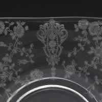 The Cambridge Rose etched pattern was introduced in 1934 and discontinued in 1958.