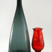 This Blenko Art Glass decanter bottle was made in the Charcoal color. Item's in Blenko's Charcoal color are relatively rare to find. The color was produced only a few years.