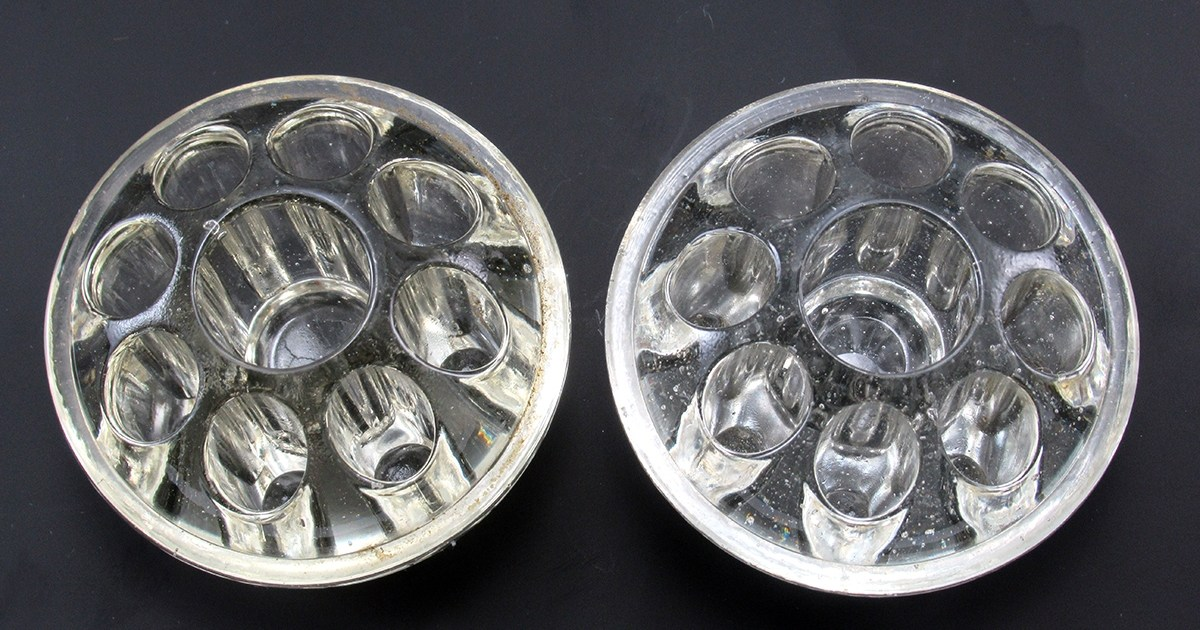 Glass Flower Frogs With Center Candle Holder Two Available