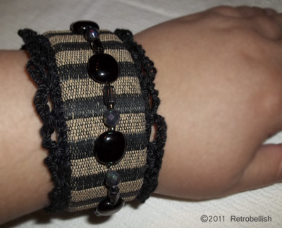 Wearing Finished Beaded Fabric  Cuff