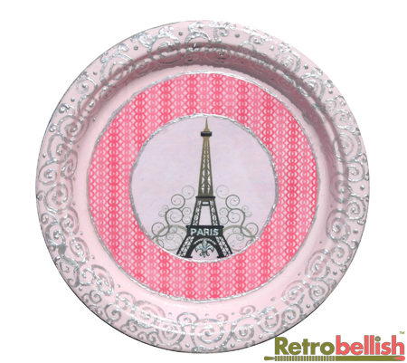 This beautiful Paris theme plate started with one of our original graphic designs of the Eiffel Tower surrounded with swirls against a light pink background ...  sc 1 st  Retrobellish & Paris Theme Paper Plates | Retrobellish™