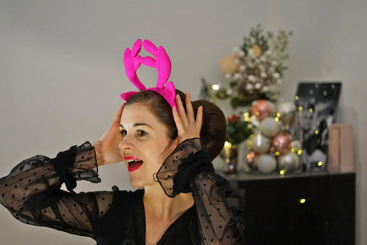 RetroCat mit pinkem Weihnachts-Hirschgeweih