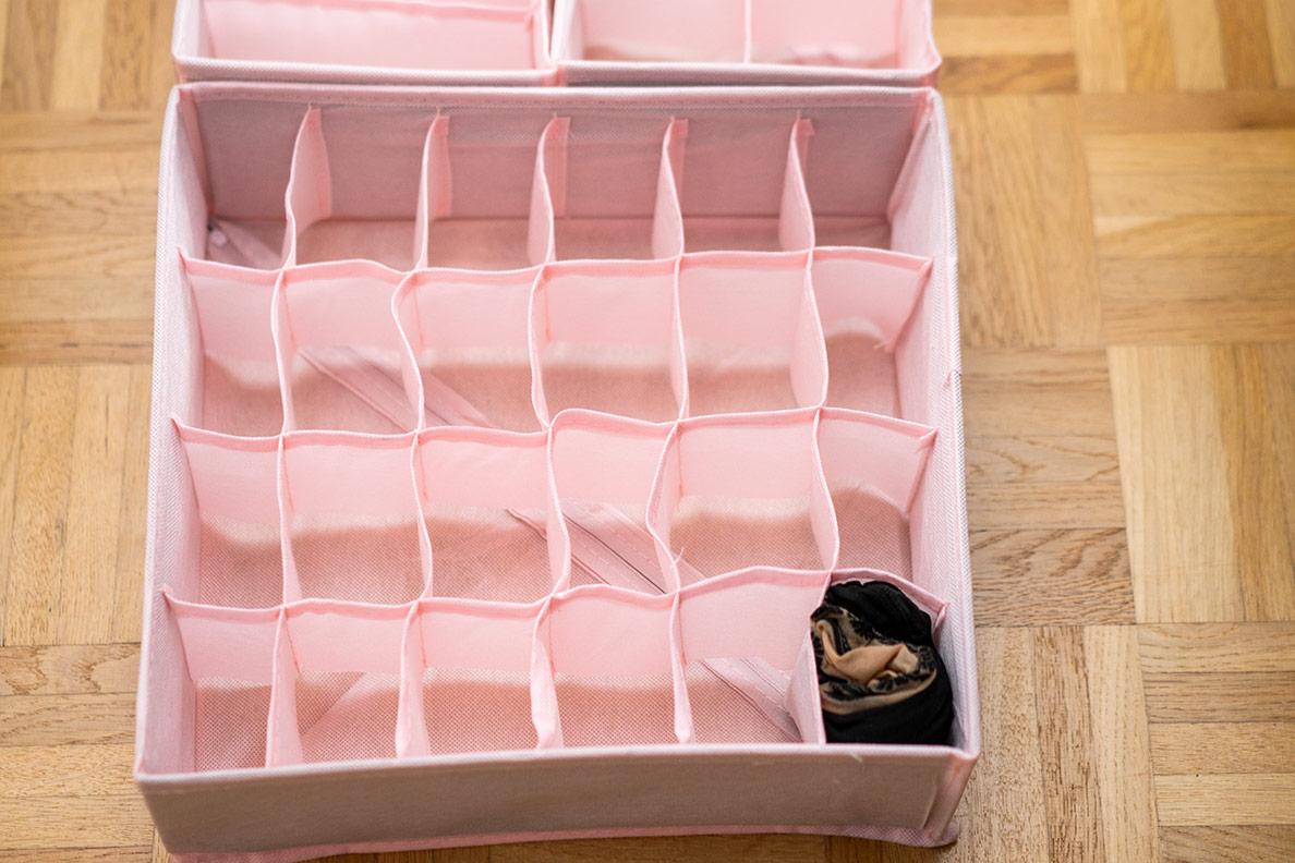rosa Aufbewahrungsbox für Unterwäsche und Strümpfe
