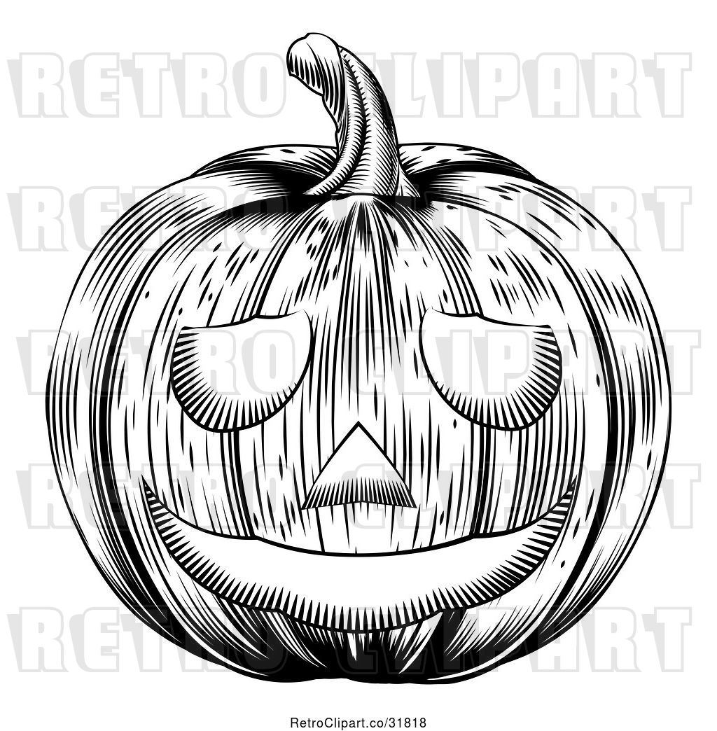 Vector Clip Art Of Retro Carved Halloween Woodcut