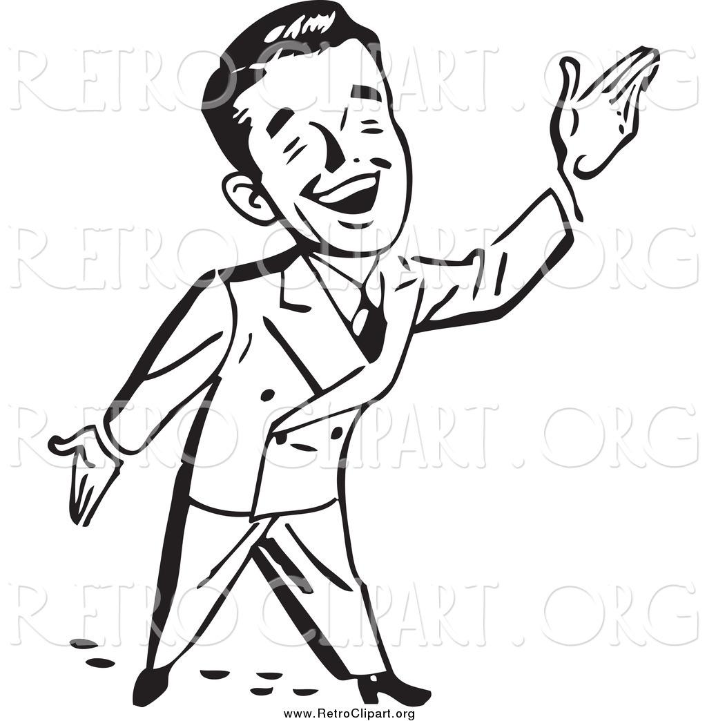 Clipart Of A Black And White Happy Retro Businessman