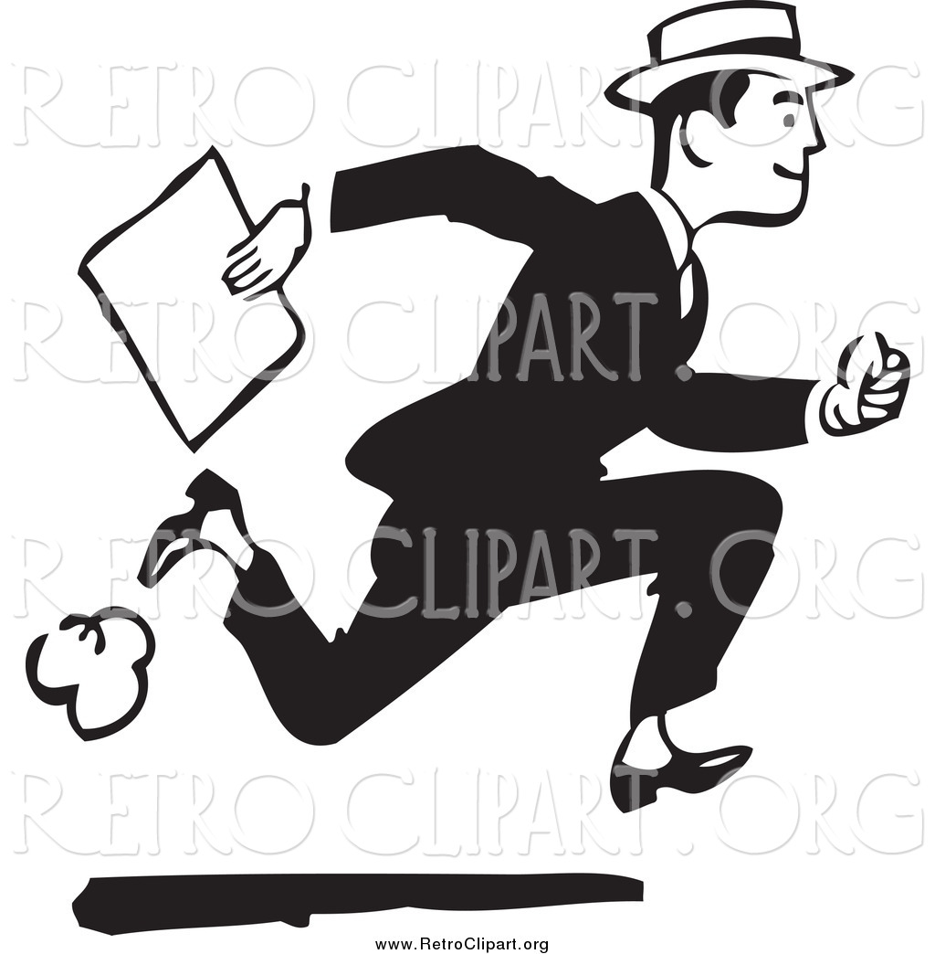 Clipart Of A Retro Black And White Businessman Running