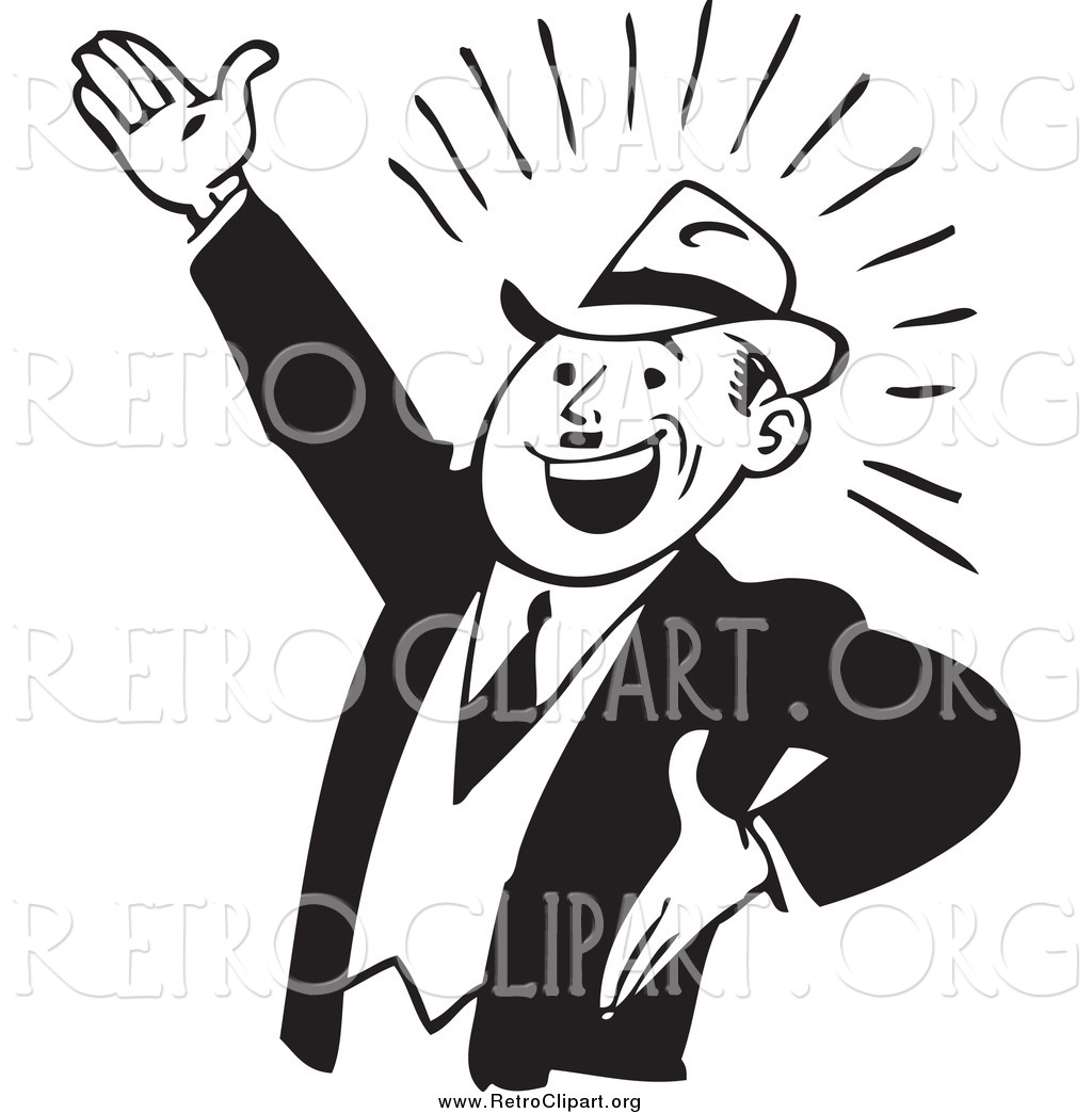 Clipart Of A Retro Black And White Enthusiastic
