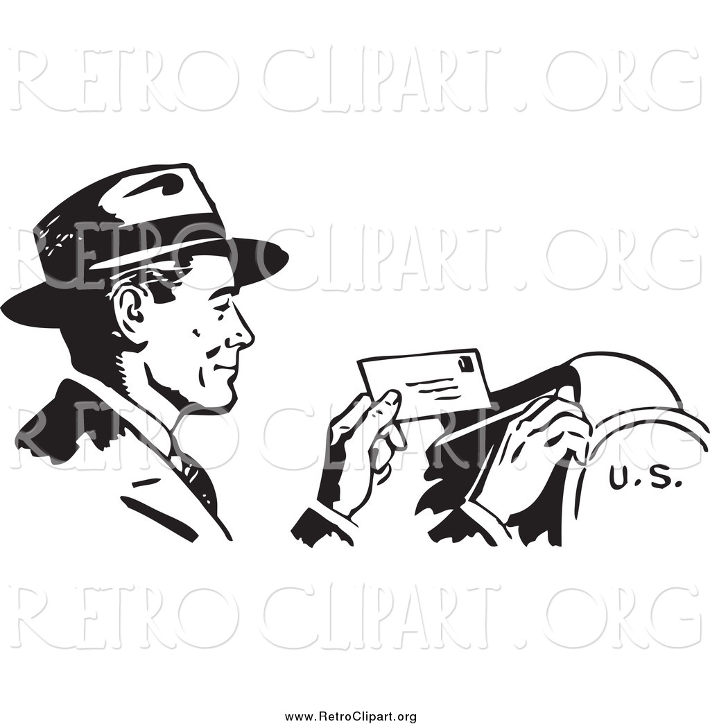 Clipart Of A Retro Black And White Happy Businessman