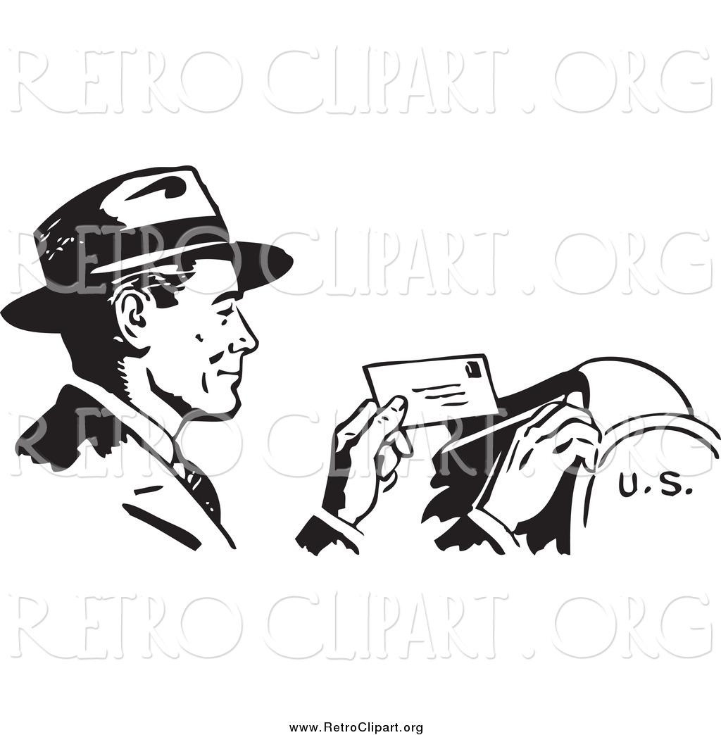 Clipart Of A Retro Black And White Happy Businessman