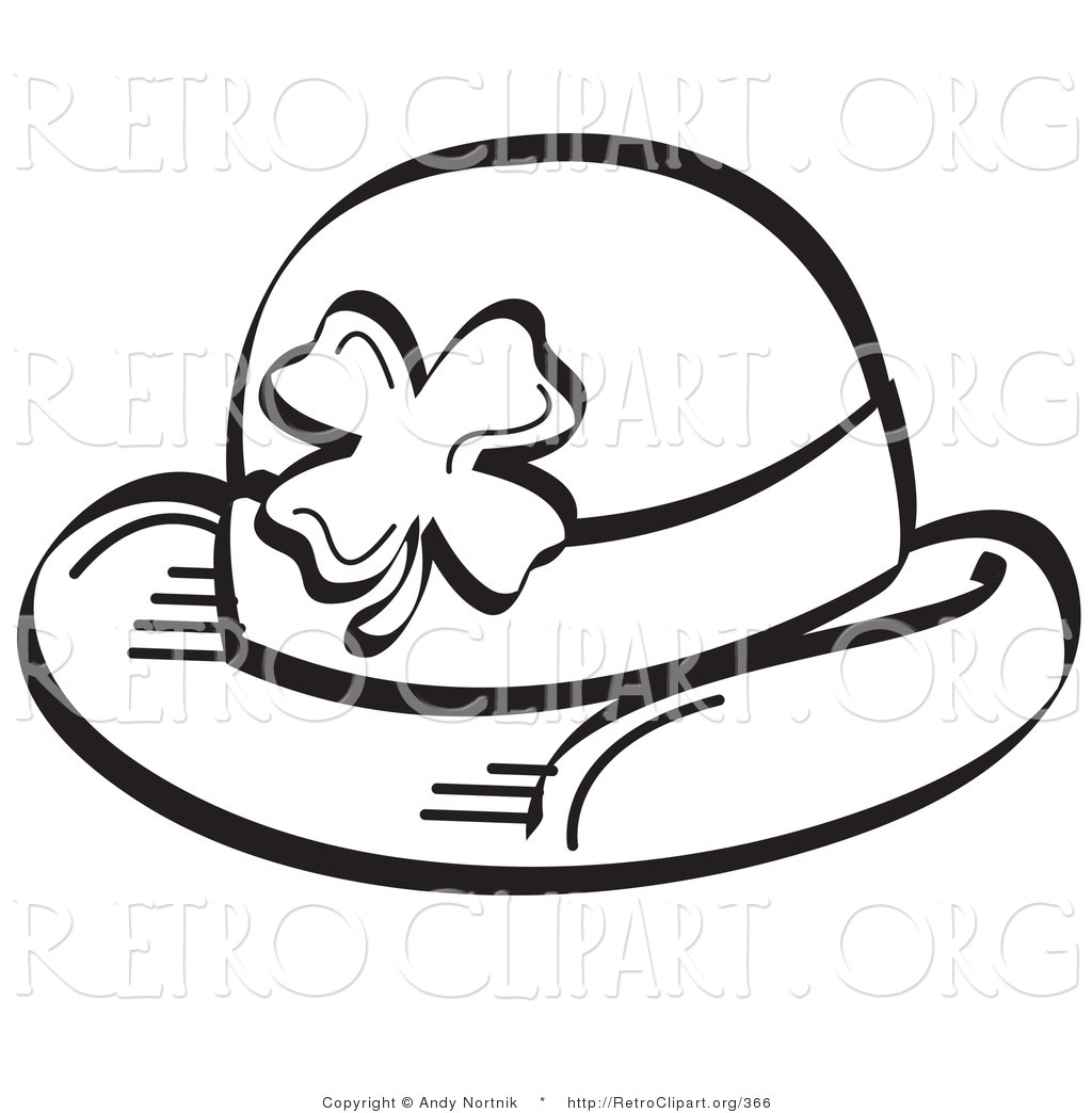 Retro Clipart Of A Coloring Page Of A St Paddy S Day Hat