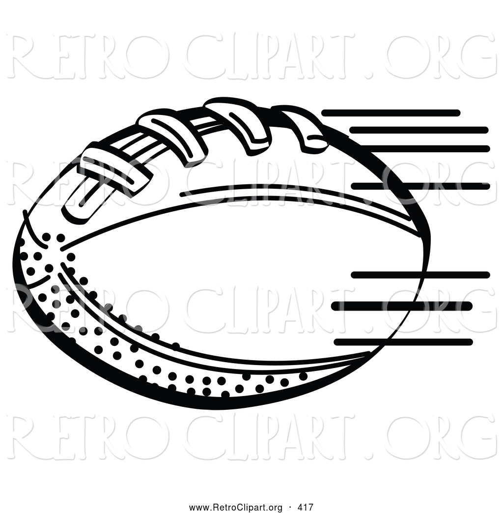 Retro Clipart Of A Coloring Page Of An American Football