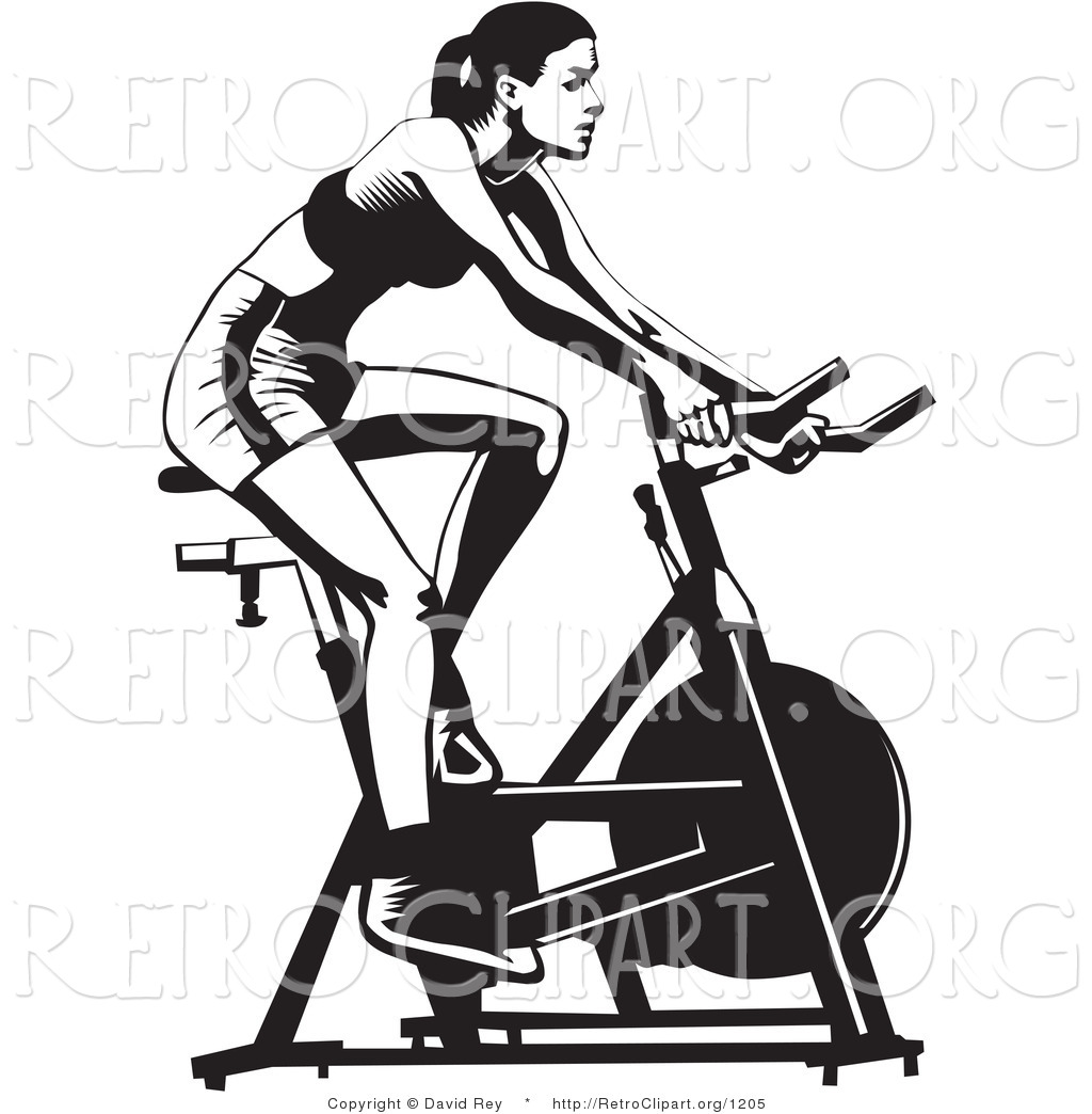 Vector Retro Clipart Of A Fit Woman Using A Stationery
