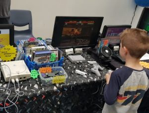 kid playing retro