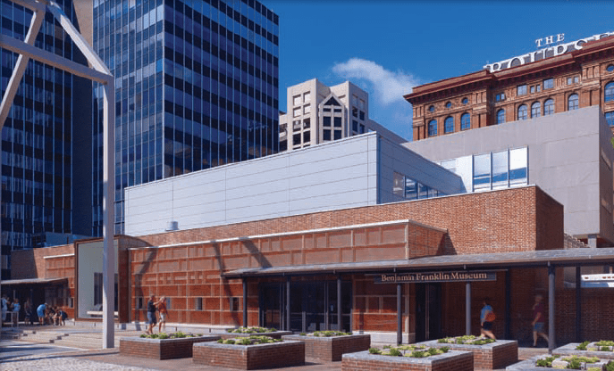 The Benjamin Franklin Museum's new entry pavilion features an energy-efficient glass curtainwall with a unique pattern recalling hand-moulded brick.
