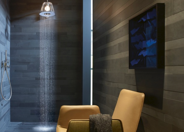 The Axor LampShower by Nendo, a cross between lamp and shower head from Japanese design studio Nendo, is now available in the U.S.