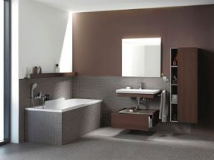 Duravit is highlighting a bi-color option for the more daring designer who wants to use two different finishes in one piece.