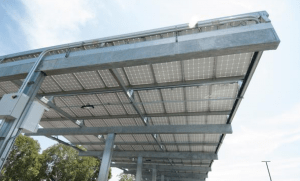 New solar panels were added on shade structures in the NZP ETI's parking lot, which also includes 12 electrical vehicle-charging stations.