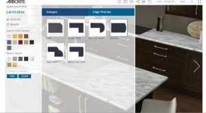 Users can choose which Arborite laminates to put on the counter and cabinets, as well as what wall color and floor finish they would like.