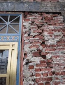 Inner wythes of brickwork.