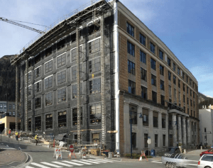 New concrete shear walls and windows on the capitol's west side.