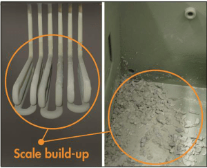 Untreated supply water causes scale buildup in humidifier tank