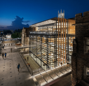 The bold retrofitting of the Richard H. Brodhead Center for Campus Life still is respectful to the historic context of Duke University, Durham, N.C.