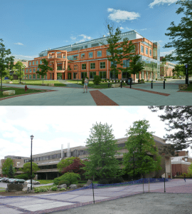 The renovation retained about 96 percent of the original structure, but the building is almost unrecognizable from before (bottom).