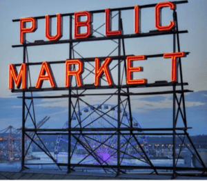 Hundreds of small businesses and social services are the core of Pike Place Market, a 9-acre Seattle historic district.