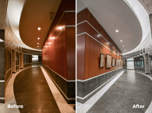 Broadway Square included a lighting retrofit of the parking garage and common areas, including the main lobby.