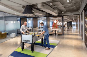 Throughout the three floors of Match.com's headquarters, informal spaces and a game room lend a relaxed aesthetic to the workplace that invites employees to unplug. PHOTO: Thomas McConnell