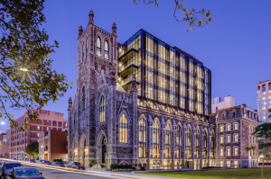 New Boston Ventures and its team tested the boundaries of modern engineering by building an 8-story vertical addition through the area in which the 1871 German Trinity Catholic Church's roof had been, ultimately creating 33 high-end condos.