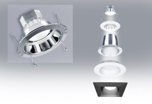 With enLux's custom-engineered product line, the DL1e downlight series is able to fit into cylindrical, square or round openings, from 4 to 9 inches