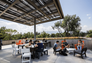 Tutt Library at Colorado College, Colorado Springs, showcases the LSX Module System, which is composed of the LSX Frameless Solar Module and LSX Rail from Lumos Solar.