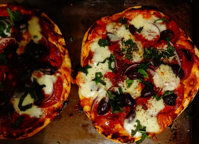 Pepperoni Pizza with Bocconcini, Olives and Mint