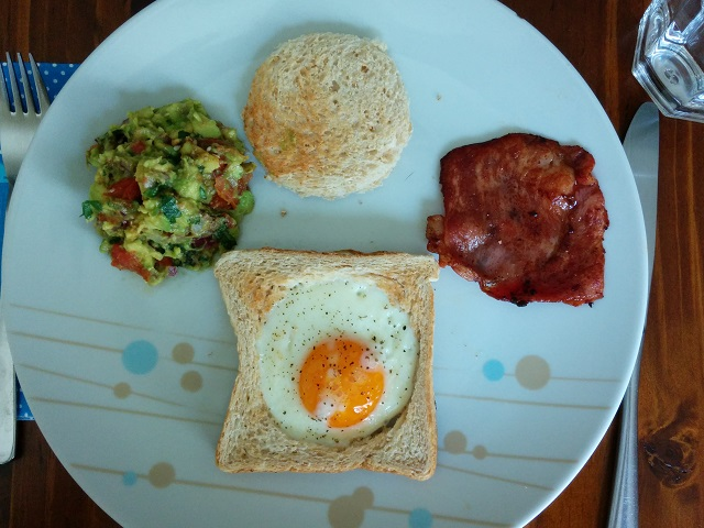 Ox Eye Eggs, Bacon and Loaded Guacamole