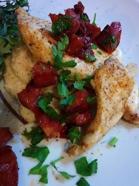 Chicken with Butter Bean Puree and Crispy Chorizo