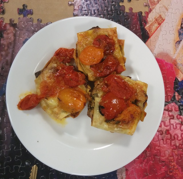 Hardy Green Mini Lasagnas With Cherry Tomato Compote