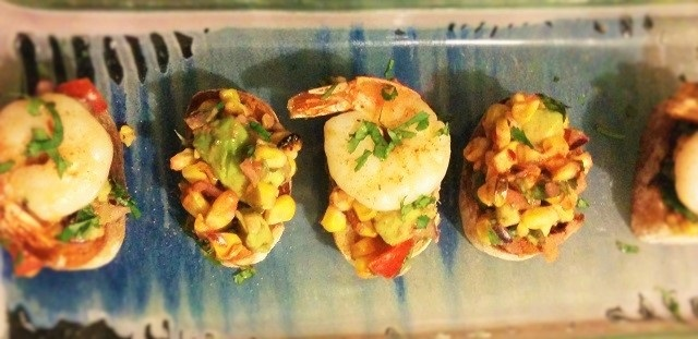 Corn and Prawn Tostadas