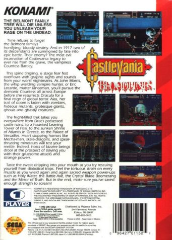 castlevania bloodlines genesis box art back cover