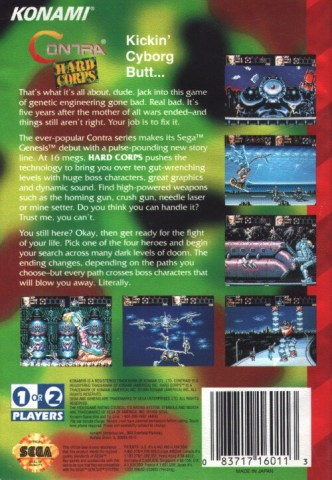 contra hard corps genesis box art back cover