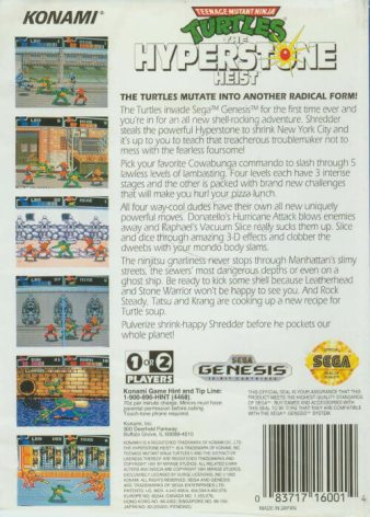 teenage mutant ninja turtles the hyperstone heist genesis box art back cover