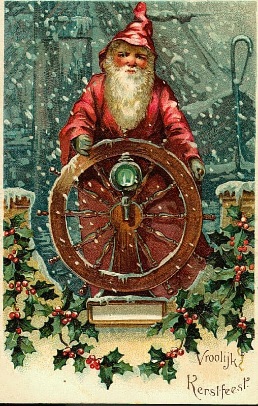 Sailor Santa Claus Vintage Style Christmas Cards