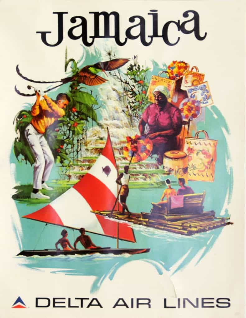 jamaica by delta airlines poster 1974