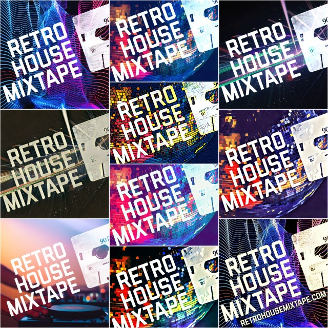 Retro House Mixtape Logo Collage