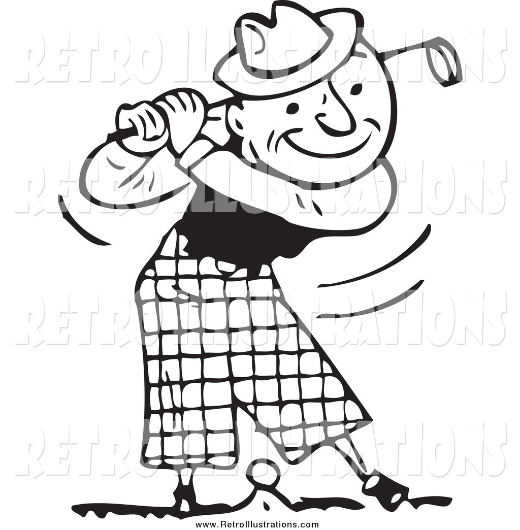 Retro Illustration Of A Black And White Happy Man Swinging