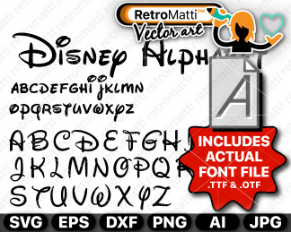 retromatti w part Recovered disney font