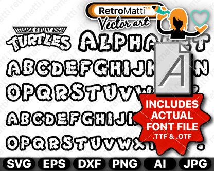 retromatti w part Recovered ninja turtles outside font