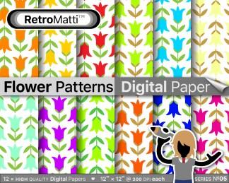 flower patterns digital paper No Listing Graphic
