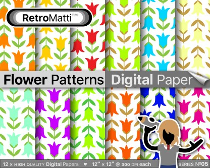 flower patterns digital paper No Listing Graphic